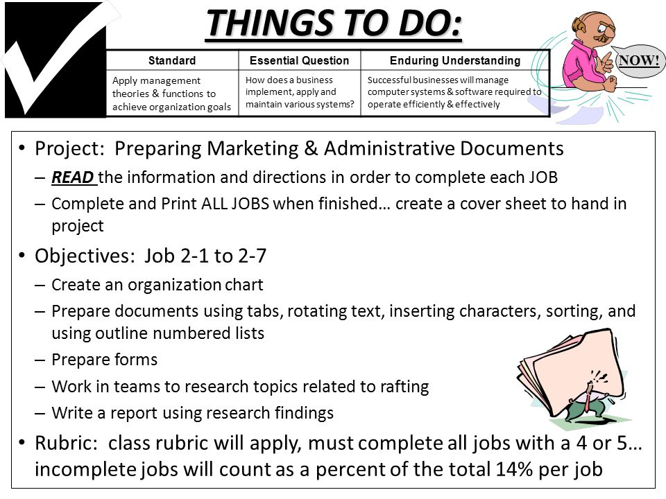 THINGS TO DO: Project: Preparing Marketing & Administrative Documents – READ the information and directions in order to complete each JOB – Complete and Print ALL JOBS when finished… create a cover sheet to hand in project Objectives: Job 2-1 to 2-7 – Create an organization chart – Prepare documents using tabs, rotating text, inserting characters, sorting, and using outline numbered lists – Prepare forms – Work in teams to research topics related to rafting – Write a report using research findings Rubric: class rubric will apply, must complete all jobs with a 4 or 5… incomplete jobs will count as a percent of the total 14% per job NOW.