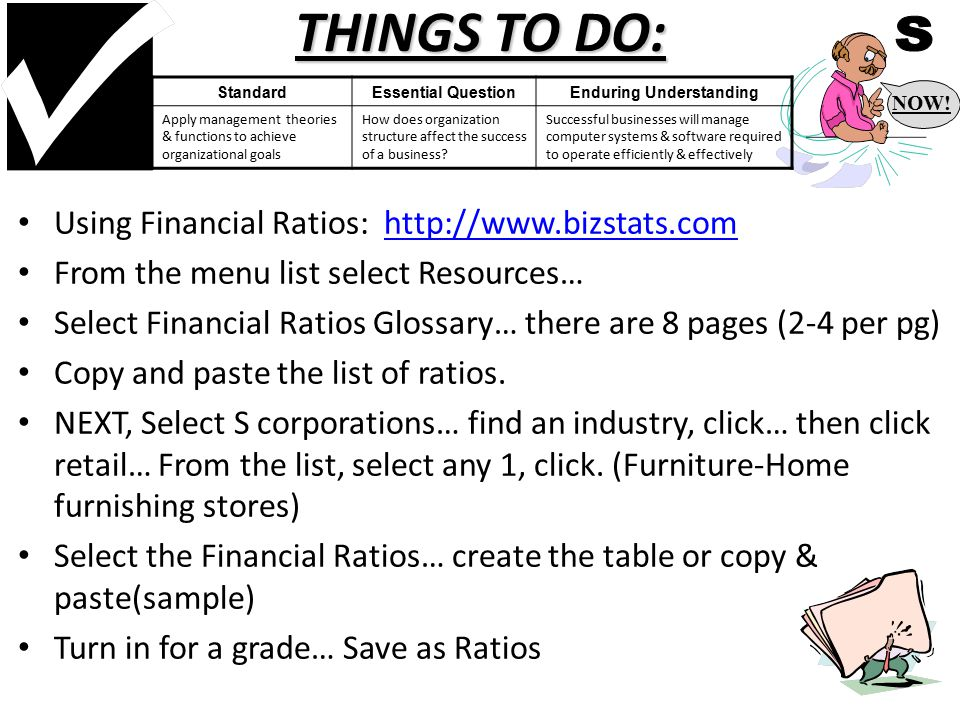 THINGS TO DO: Using Financial Ratios: http://www.bizstats.comhttp://www.bizstats.com From the menu list select Resources… Select Financial Ratios Glossary… there are 8 pages (2-4 per pg) Copy and paste the list of ratios.