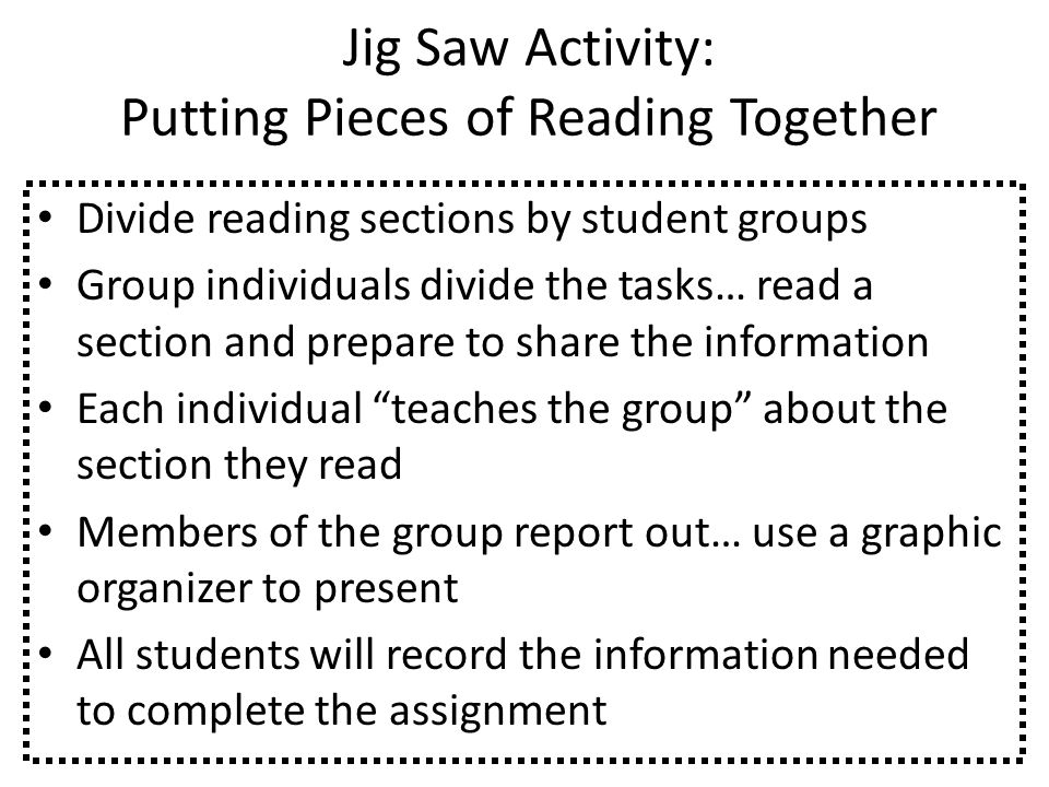 Jig Saw Activity: Putting Pieces of Reading Together Divide reading sections by student groups Group individuals divide the tasks… read a section and prepare to share the information Each individual teaches the group about the section they read Members of the group report out… use a graphic organizer to present All students will record the information needed to complete the assignment