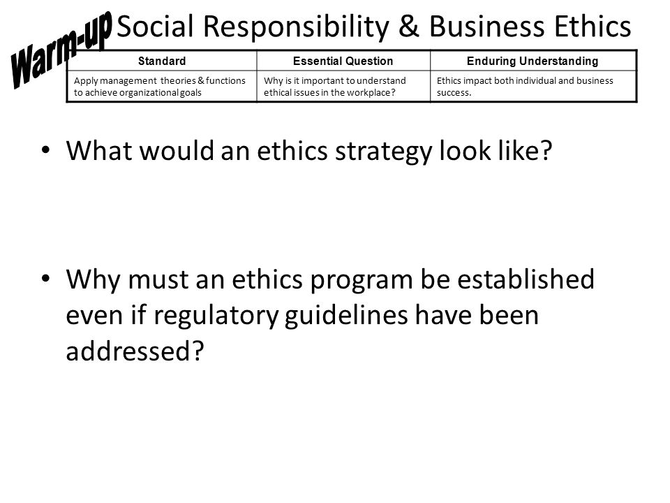 Social Responsibility & Business Ethics What would an ethics strategy look like.