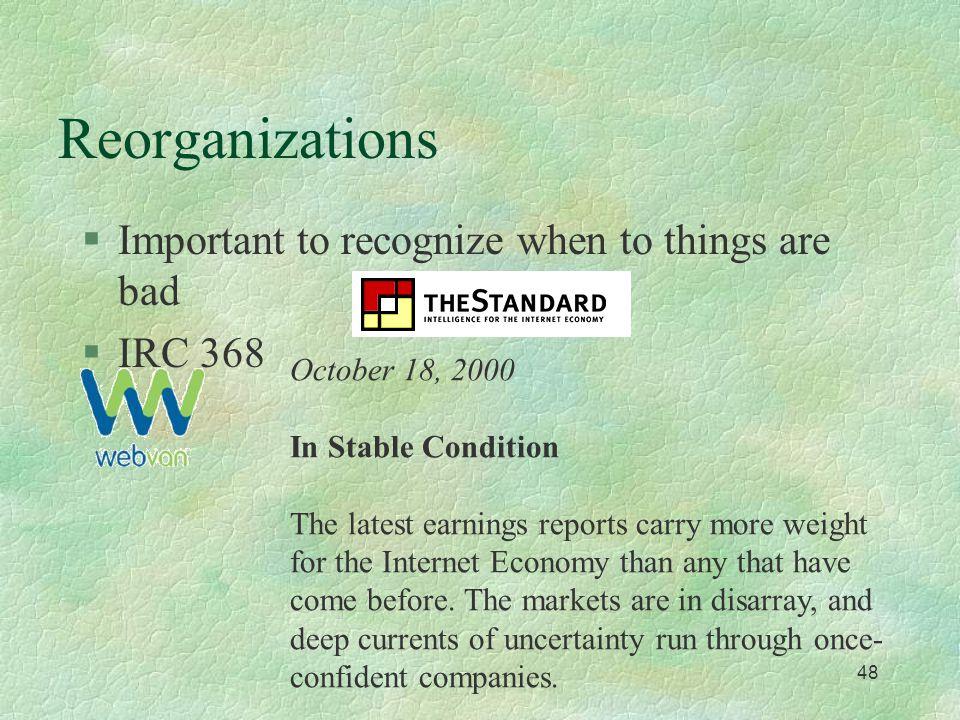 47 Reorganization / Bankruptcy