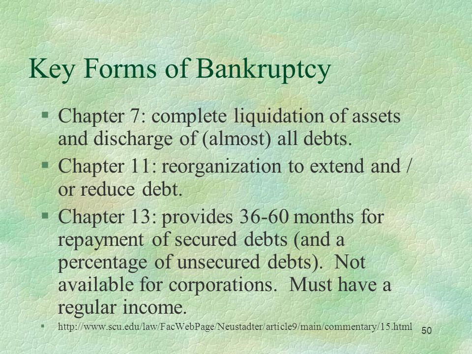 49 Introduction to Bankruptcy §Federal law (11 USC 101) designed to give debtors a 'fresh start.' l Article 1 section 8 clause 4 of the constitution gives Congress the authority to establish bankruptcy law.