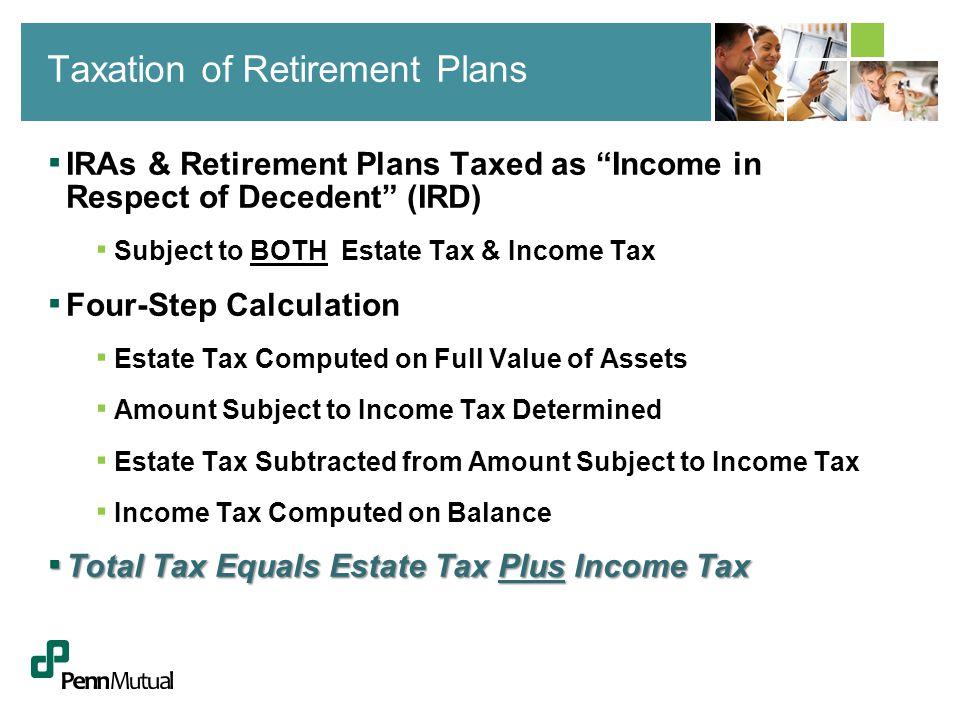 ▪ Value of IRA at Death - $1,000,000 ▪ Assumed Tax Rates ▪ Estate Tax (State and/or Federal): 15% ▪ Income Tax (State and/or Federal): 45% ▪ Computation of Tax at Death ▪ Estate Tax ▪ $1,000,000 X.15 = $150,000 ▪ Income Tax ▪ $1,000,000 Minus $150,000 = $850,000 X.45 = $382,500 ▪ Total Tax: $150,000 + $382,500 = $532,500 (53%) IRA Taxation at Death