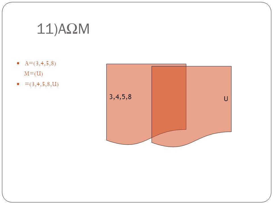 11)A Ω M A=(3,4,5,8) M=(U) =(3,4,5,8,U) 3,4,5,8 U