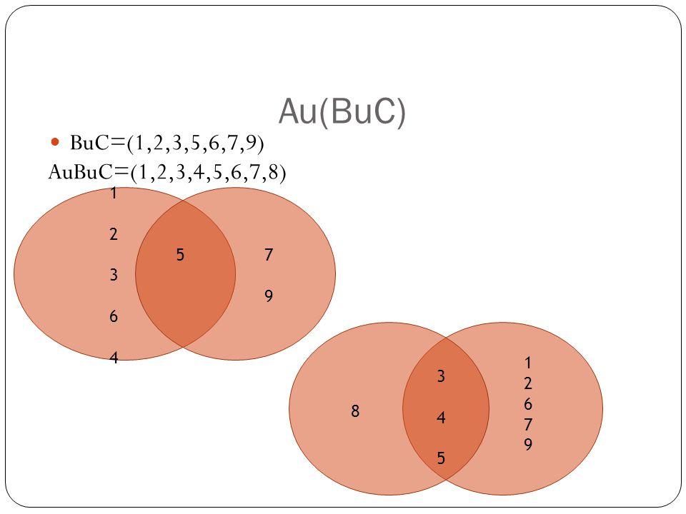 Au(BuC) BuC=(1,2,3,5,6,7,9) AuBuC=(1,2,3,4,5,6,7,8) 57979 1236412364 8 345345 1267912679