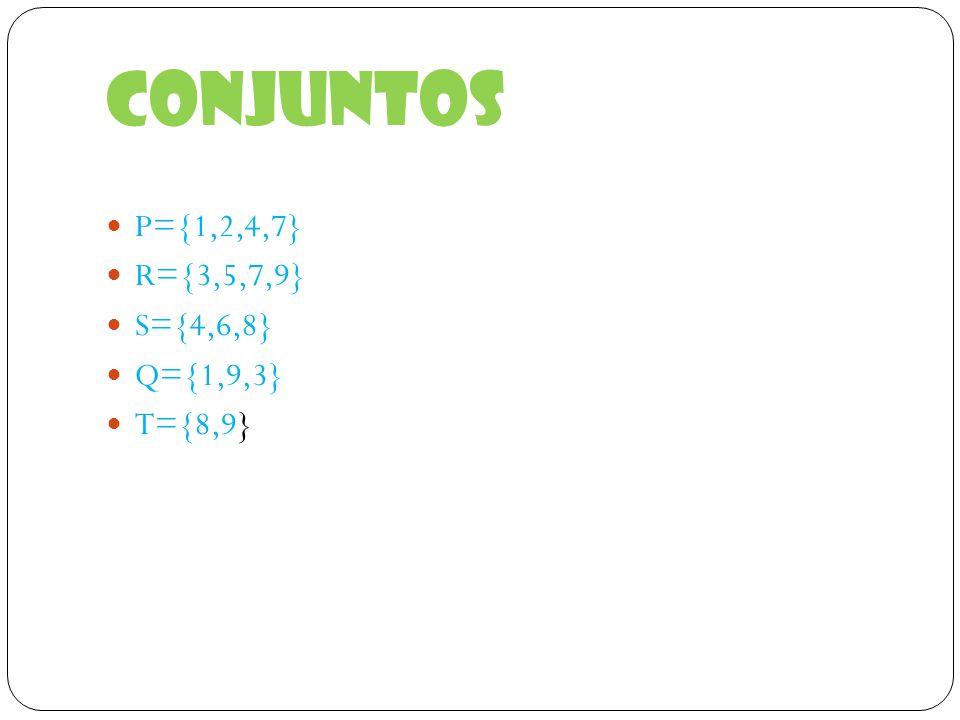 Conjuntos P={1,2,4,7} R={3,5,7,9} S={4,6,8} Q={1,9,3} T={8,9}