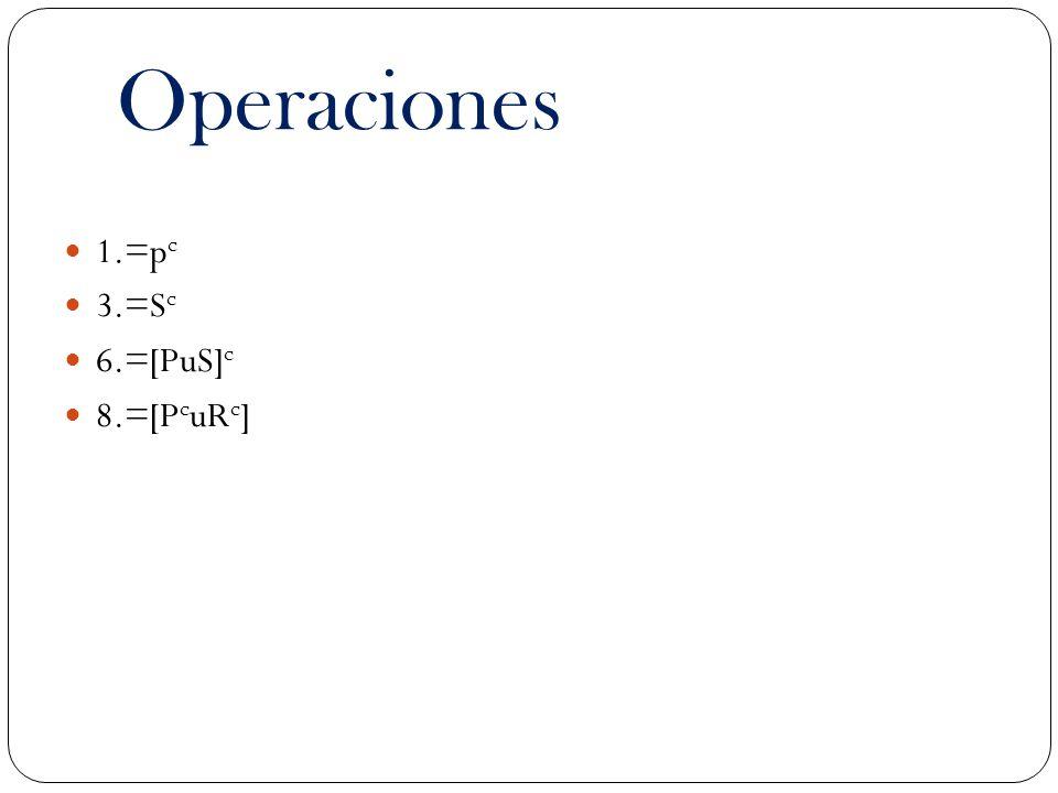 Operaciones 1.=p c 3.=S c 6.=[PuS] c 8.=[P c uR c ]