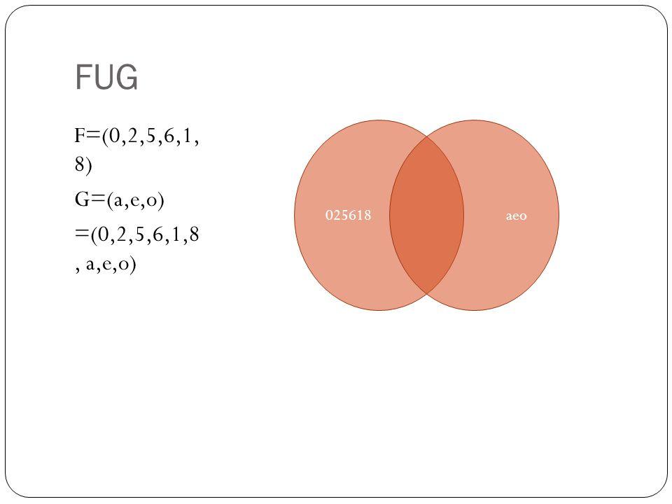 FUG F=(0,2,5,6,1, 8) G=(a,e,o) =(0,2,5,6,1,8, a,e,o) 025618 aeo