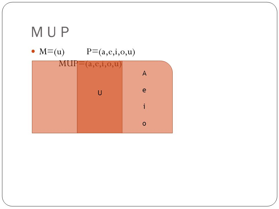 M U P M=(u)P=(a,e,i,o,u) MUP=(a,e,i,o,u) U AeioAeio