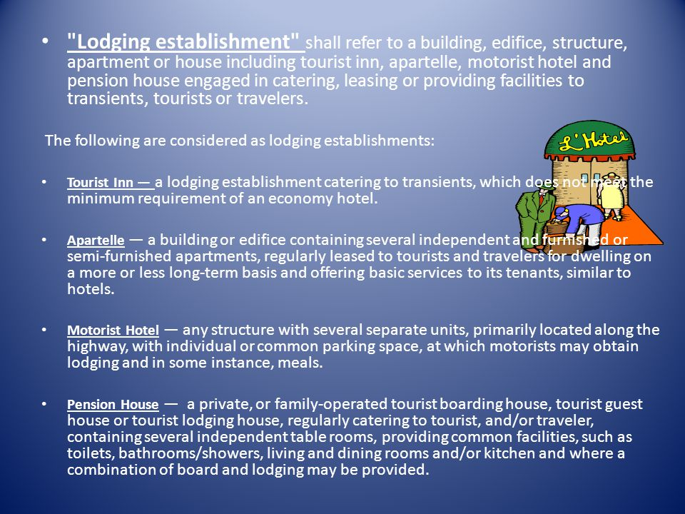 G.On the utilization of services in hotels and similar lodging establishments, restaurants and recreation centers. g.1 For hotels and similar lodging