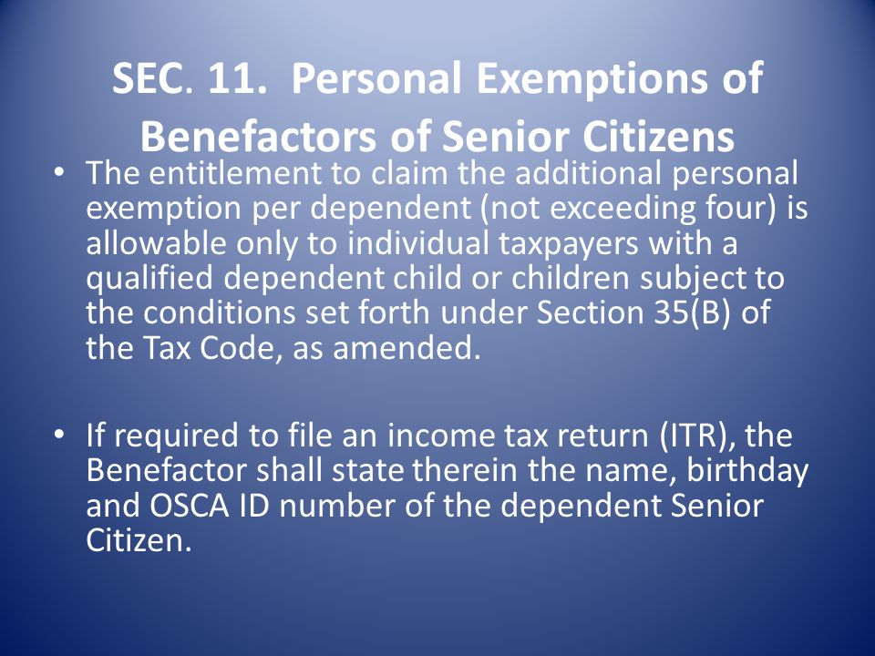 SEC. 10. Exemption from VAT of the sale to Senior Citizens.- The input tax attributable to the exempt sale shall not be allowed as an input tax credit