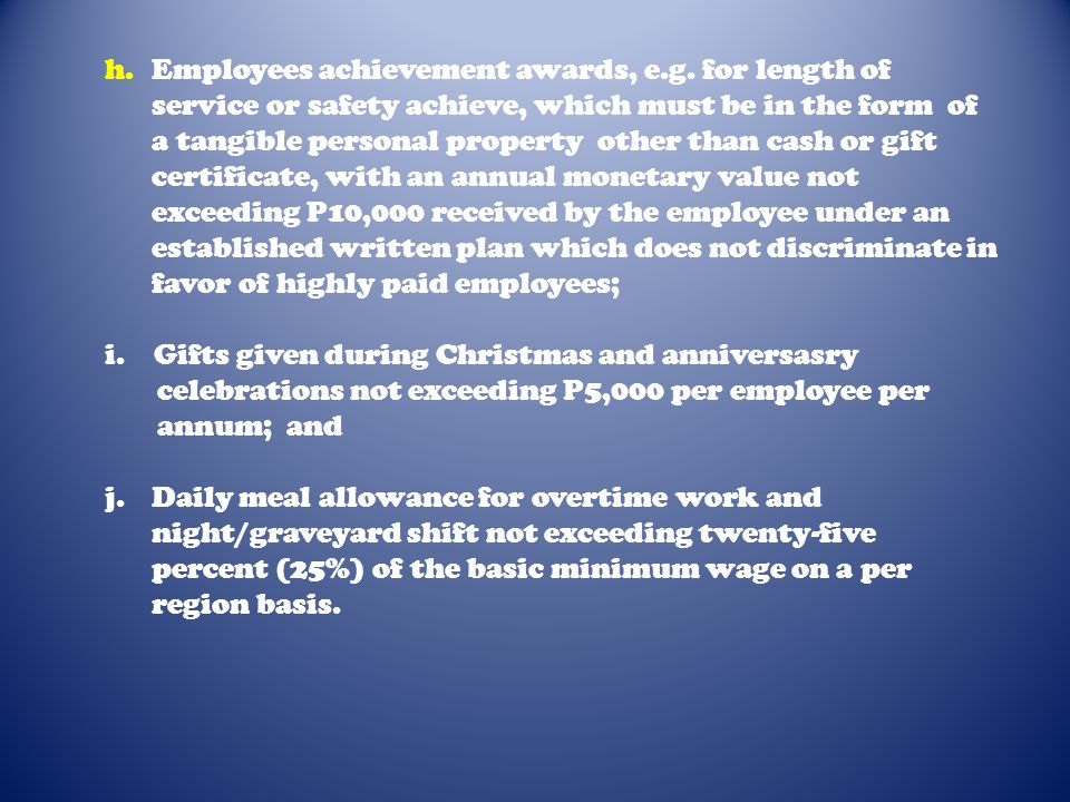 c. Medical cash allowance to dependents of employees not exceeding P750.00 per employee per semester or P125.00 per month; d. Rice subsidy of P1,500.0