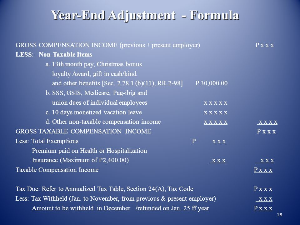 27 Annualized Withholding Tax (Year-End-Adjustment) STEP 6 - Determine the deficiency or excess, if any, of the tax computed in Step 5 over the cumula