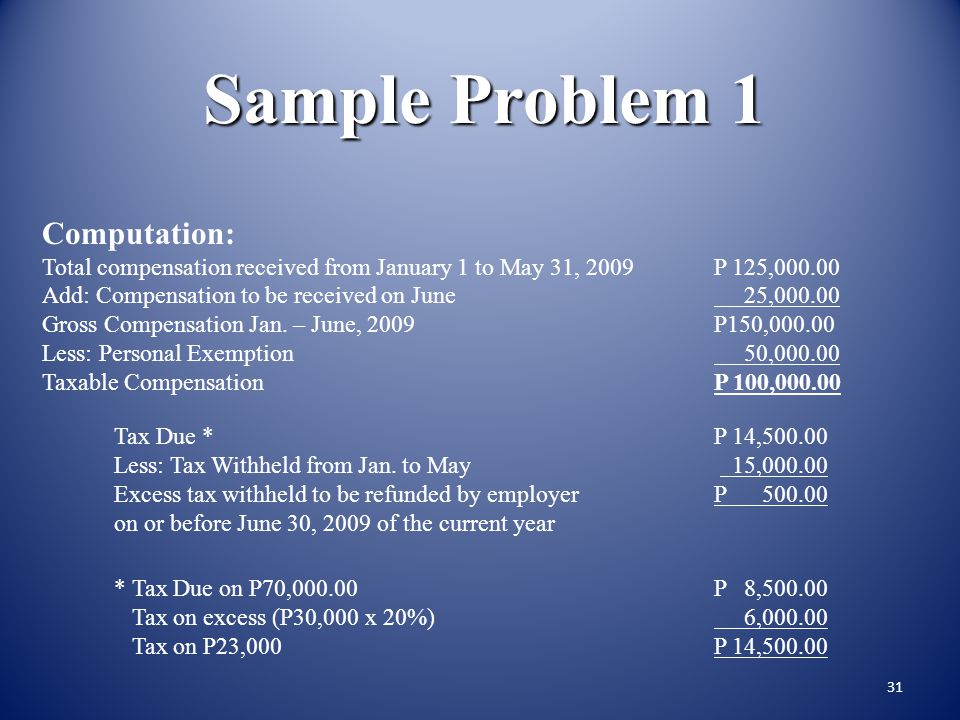 30 Sample Problem 1 Mr. Dexter, single receives P 25,000 (net of SSS, Philhealth, HDMF and other non- taxable items of gross income) as monthly regula