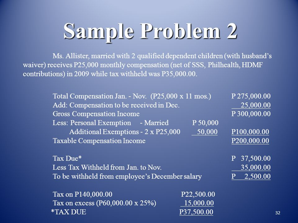 31 Sample Problem 1 Computation: Total compensation received from January 1 to May 31, 2009P 125,000.00 Add: Compensation to be received on June 25,00