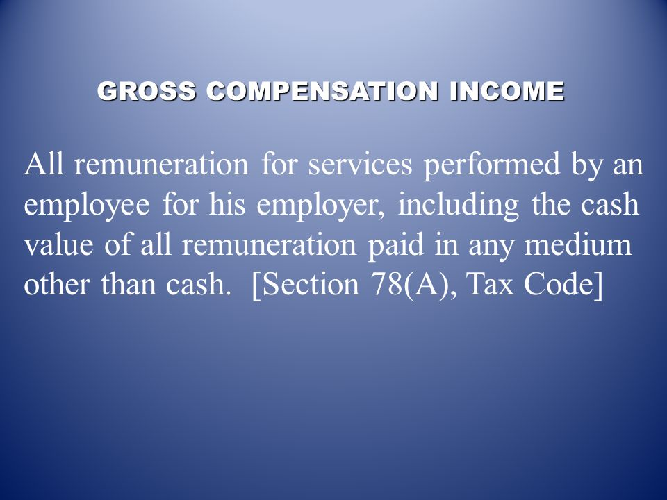 For a taxable income earner: The following should be considered in the computation of withholding tax per payroll period: Gross compensation income –