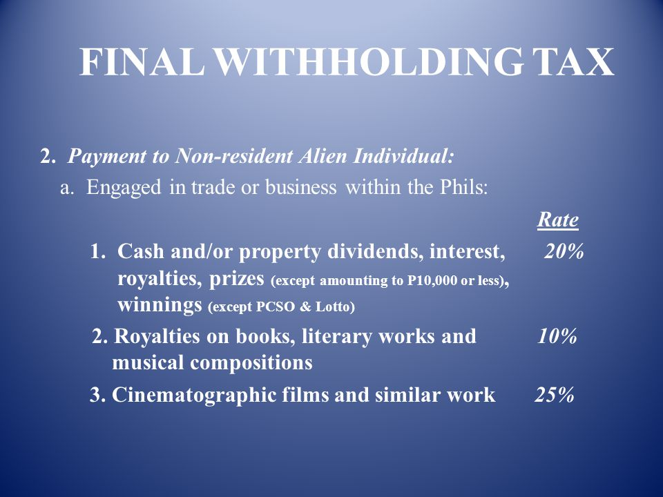FINAL WITHHOLDING TAX 1. Payment to Individual Citizen and Resident Alien Rate f. Interest income from pre-termination of certificate of long-term dep