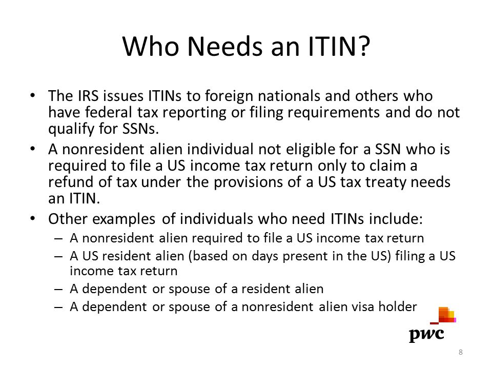 Who Needs an ITIN? The IRS issues ITINs to foreign nationals and others who have federal tax reporting or filing requirements and do not qualify for S