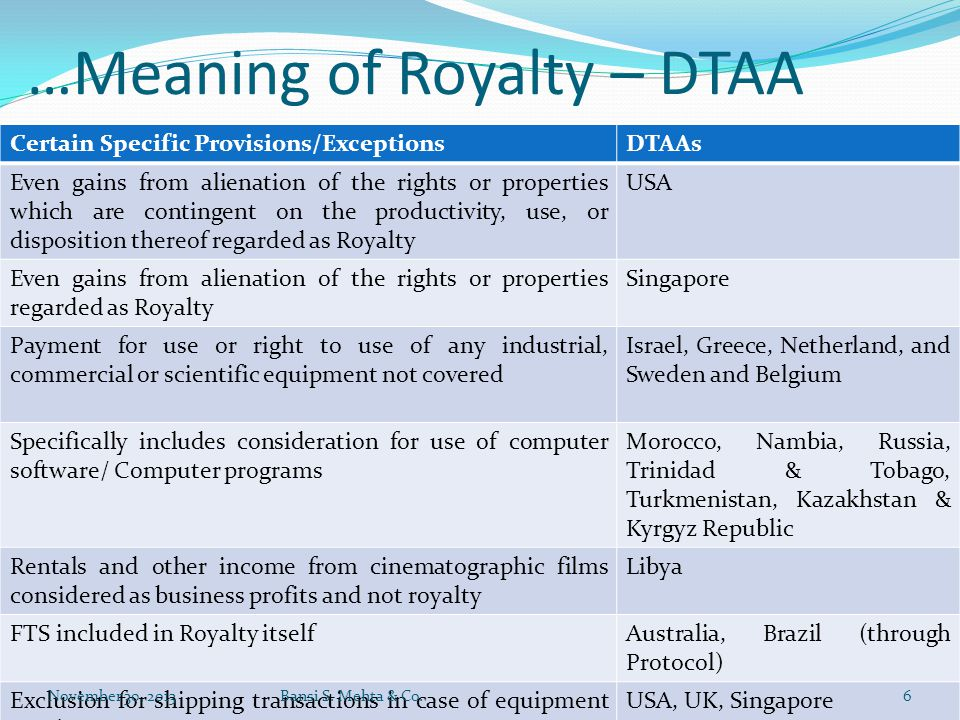 …Meaning of Royalty – DTAA Certain Specific Provisions/ExceptionsDTAAs Even gains from alienation of the rights or properties which are contingent on