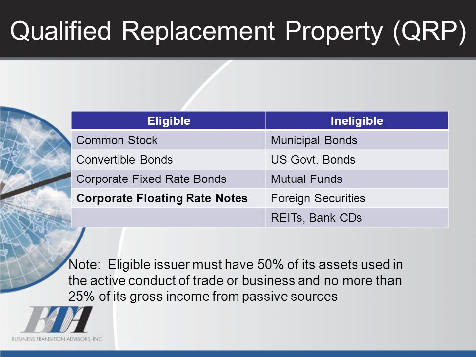 Qualified Replacement Property (QRP) Note: Eligible issuer must have 50% of its assets used in the active conduct of trade or business and no more tha