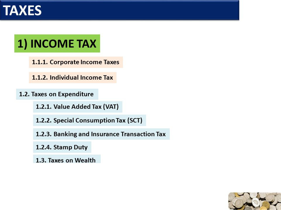 TAXES 1) INCOME TAX 1.1.1. Corporate Income Taxes 1.1.2. Individual Income Tax 1.2. Taxes on Expenditure 1.2.1. Value Added Tax (VAT) 1.2.2. Special C