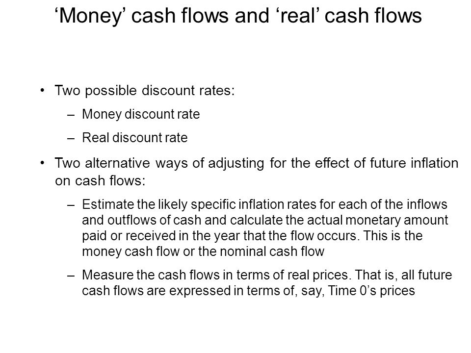 'Money' cash flows and 'real' cash flows Two possible discount rates: –Money discount rate –Real discount rate Two alternative ways of adjusting for t