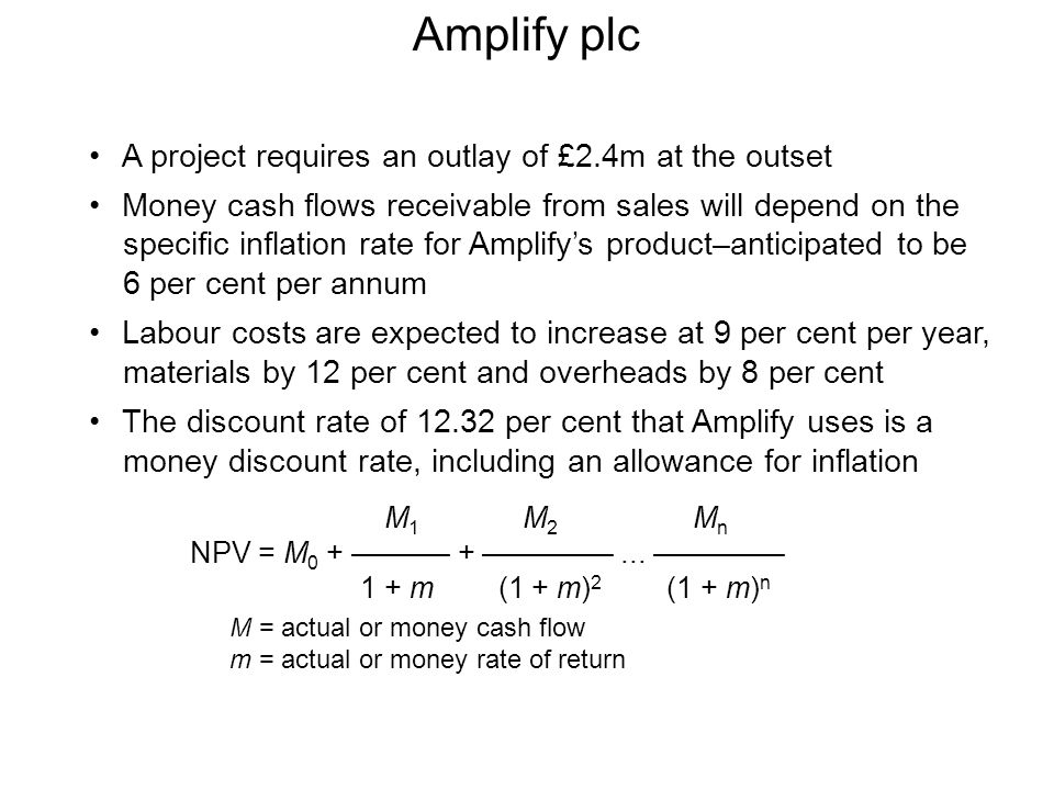 Amplify plc A project requires an outlay of £2.4m at the outset Money cash flows receivable from sales will depend on the specific inflation rate for