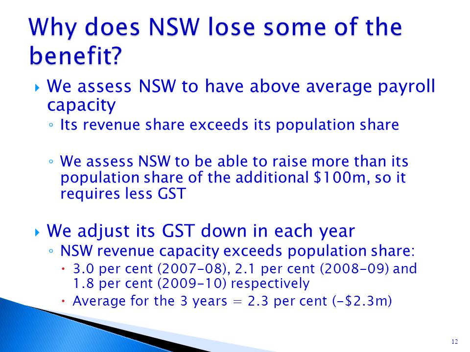  We assess NSW to have above average payroll capacity ◦ Its revenue share exceeds its population share ◦ We assess NSW to be able to raise more than