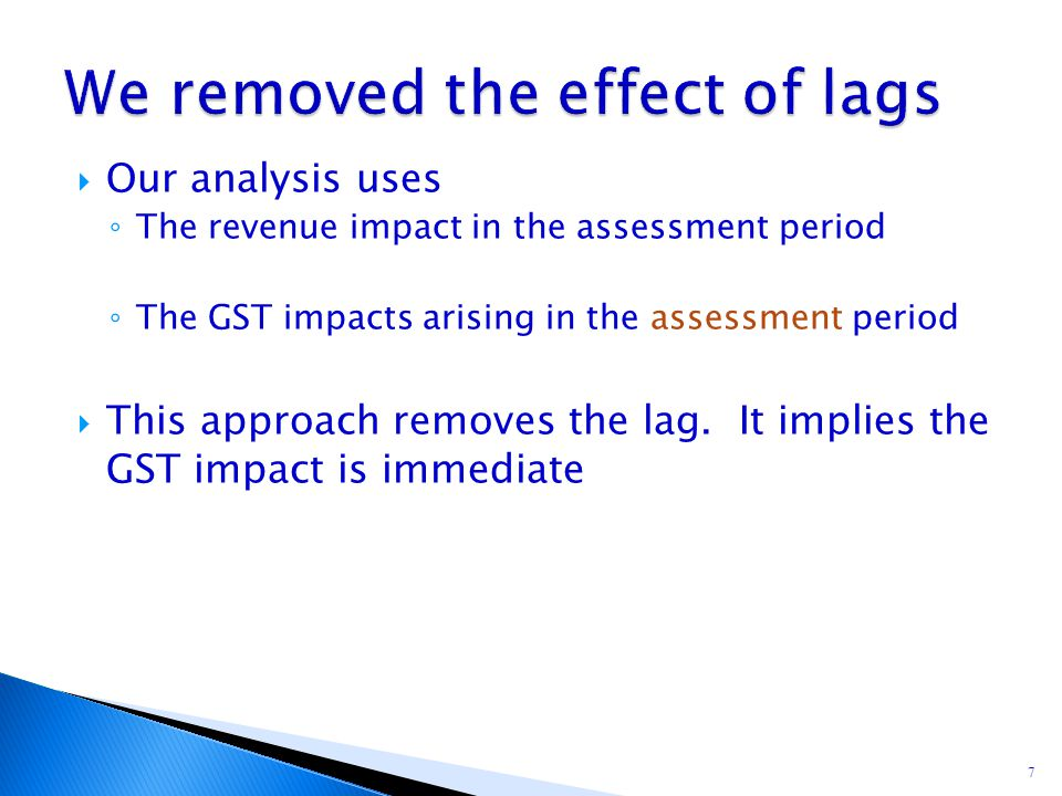 Our analysis uses ◦ The revenue impact in the assessment period ◦ The GST impacts arising in the assessment period  This approach removes the lag.