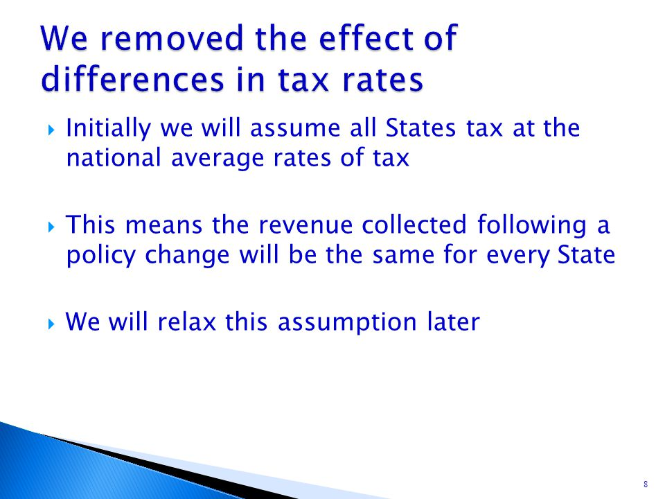  Initially we will assume all States tax at the national average rates of tax  This means the revenue collected following a policy change will be th