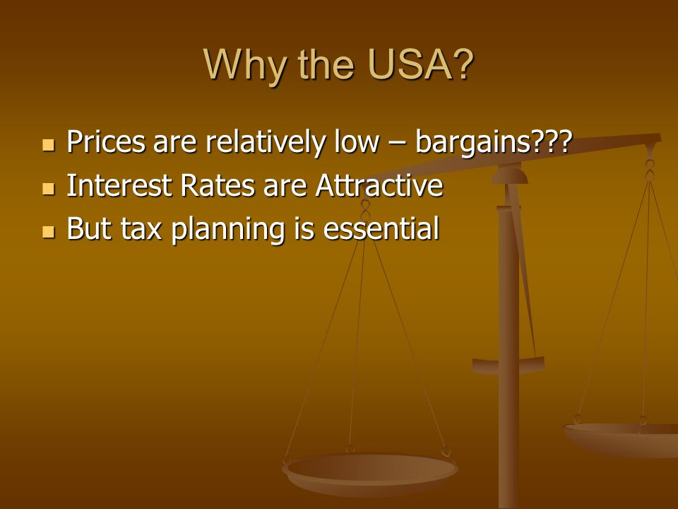 Why the USA? Prices are relatively low – bargains??? Prices are relatively low – bargains??? Interest Rates are Attractive Interest Rates are Attracti