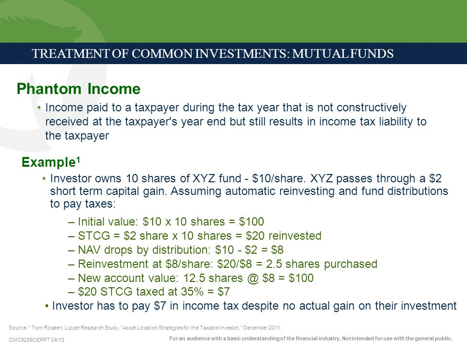CMC9299CEPPT 04/13 TREATMENT OF COMMON INVESTMENTS: MUTUAL FUNDS Phantom Income Income paid to a taxpayer during the tax year that is not constructive