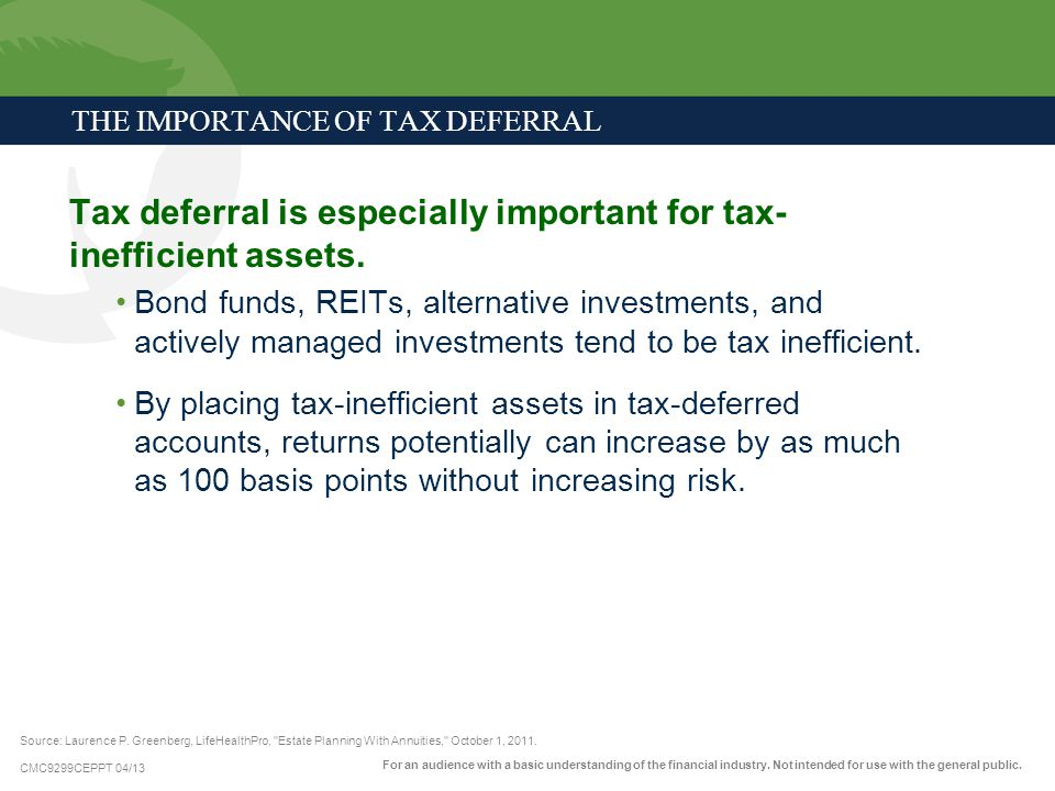 CMC9299CEPPT 04/13 Tax deferral is especially important for tax- inefficient assets. Bond funds, REITs, alternative investments, and actively managed
