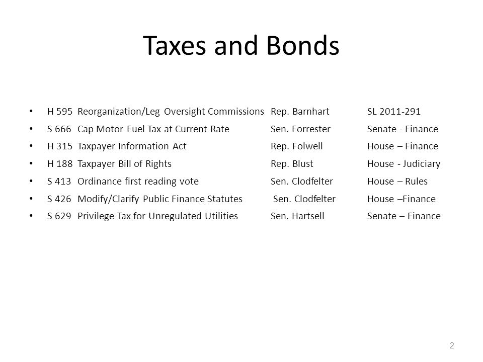 Taxes and Bonds H 595Reorganization/Leg Oversight CommissionsRep. BarnhartSL 2011-291 S 666Cap Motor Fuel Tax at Current Rate Sen. ForresterSenate - F
