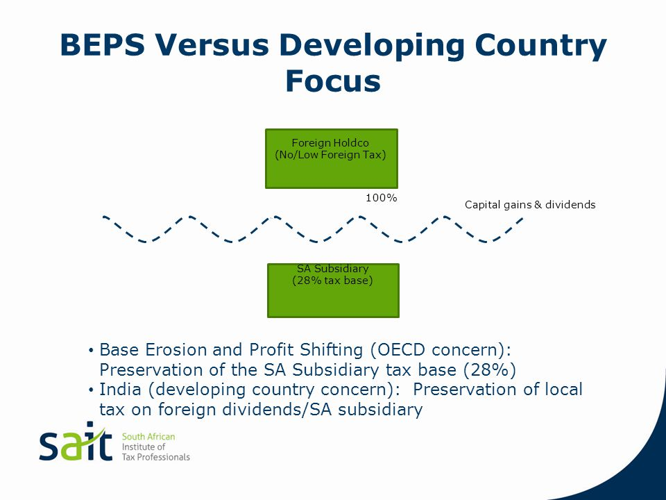 BEPS Versus Developing Country Focus Foreign Holdco (No/Low Foreign Tax) SA Subsidiary (28% tax base) 100% Capital gains & dividends Base Erosion and