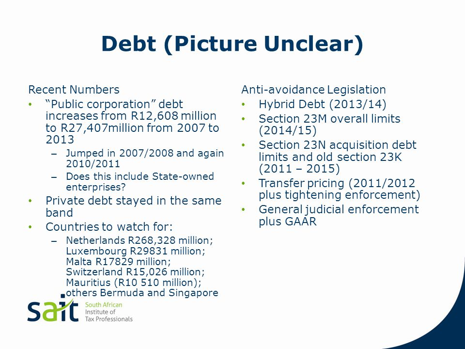 "Debt (Picture Unclear) Recent Numbers ""Public corporation"" debt increases from R12,608 million to R27,407million from 2007 to 2013 – Jumped in 2007/20"