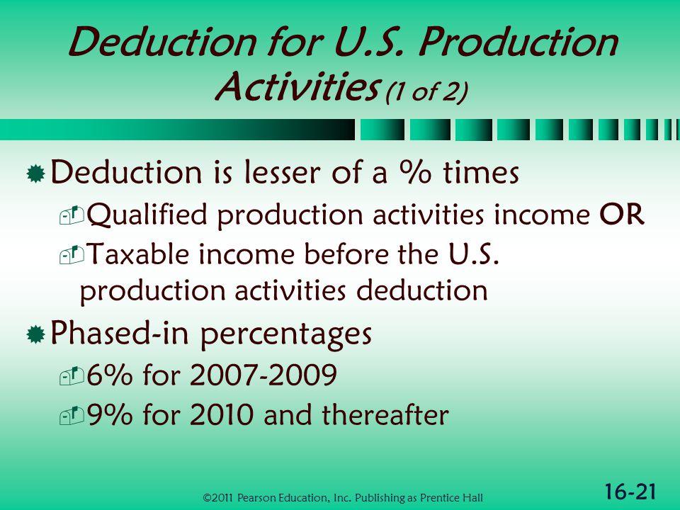 16-21 Deduction for U.S.