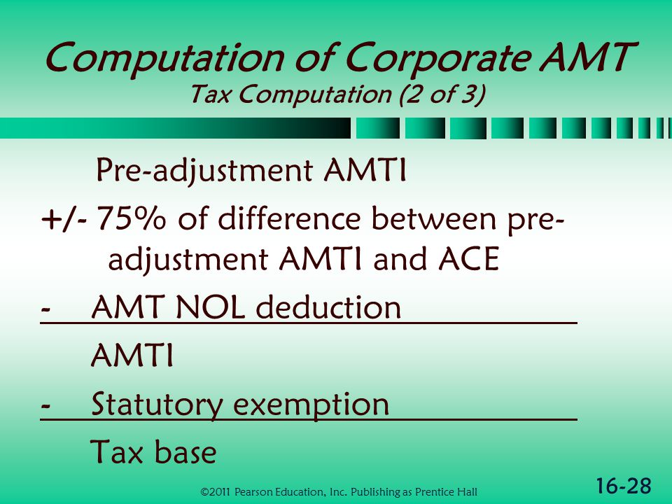 16-28 Computation of Corporate AMT Tax Computation (2 of 3) Pre-adjustment AMTI +/- 75% of difference between pre- adjustment AMTI and ACE - AMT NOL deduction AMTI - Statutory exemption Tax base ©2011 Pearson Education, Inc.