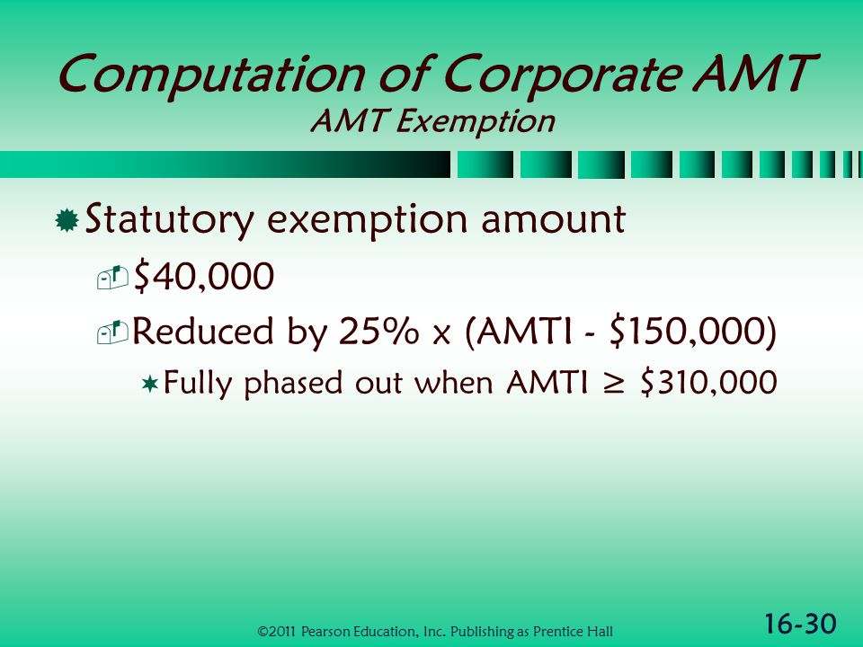 16-30 Computation of Corporate AMT AMT Exemption  Statutory exemption amount  $40,000  Reduced by 25% x (AMTI - $150,000)  Fully phased out when AMTI ≥ $310,000 ©2011 Pearson Education, Inc.