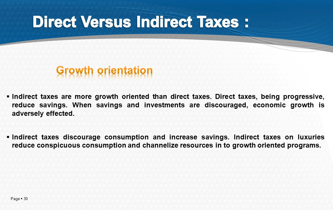 Page  30  Indirect taxes are more growth oriented than direct taxes.