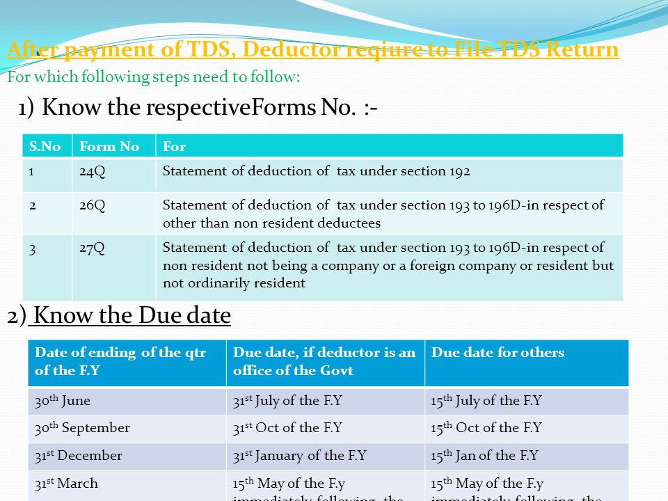 . After payment of TDS, Deductor reqiure to File TDS Return For which following steps need to follow: 1) Know the respectiveForms No. :- 2) Know the D