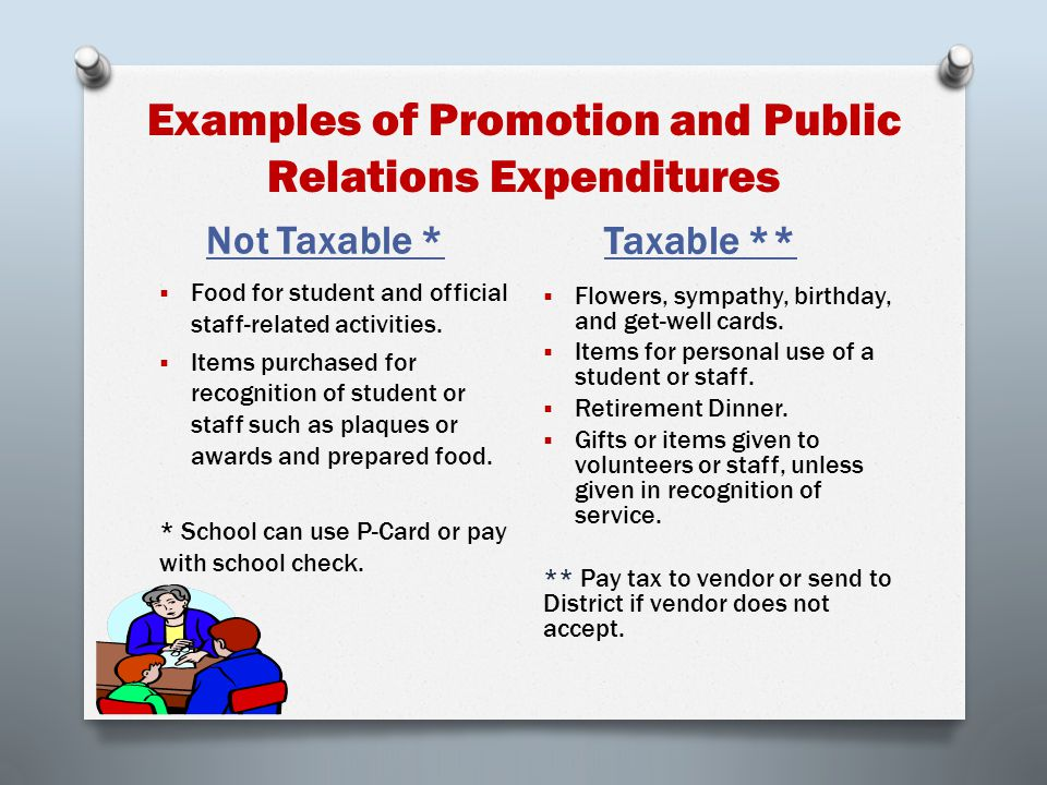 Examples of Exempt Promotion and Public Relations