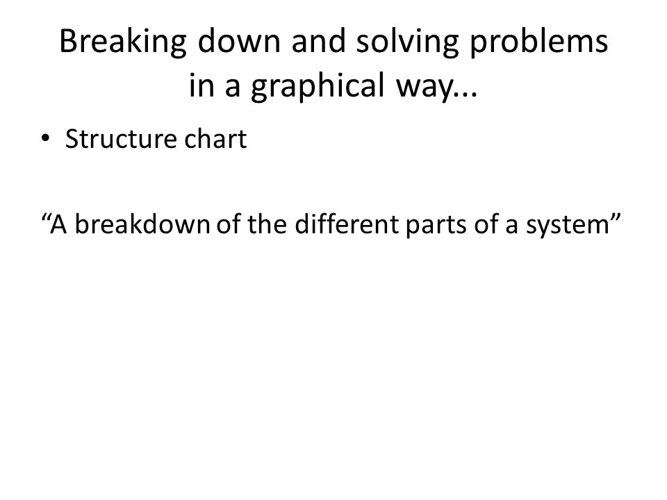 "Breaking down and solving problems in a graphical way... Structure chart ""A breakdown of the different parts of a system"""