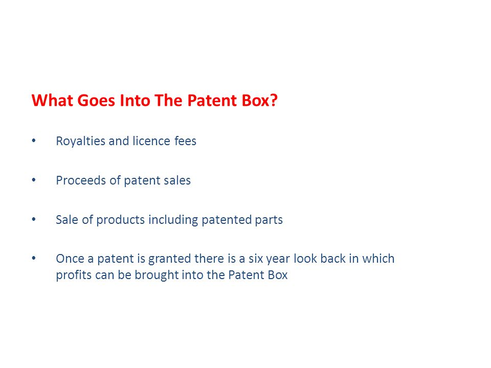 What Goes Into The Patent Box.