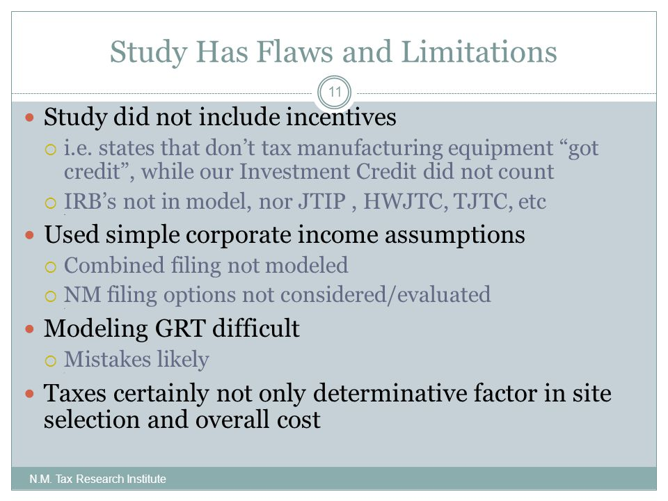 Study Has Flaws and Limitations N.M.