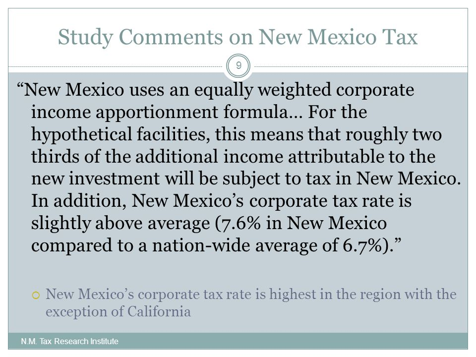 Study Comments on New Mexico Tax N.M.