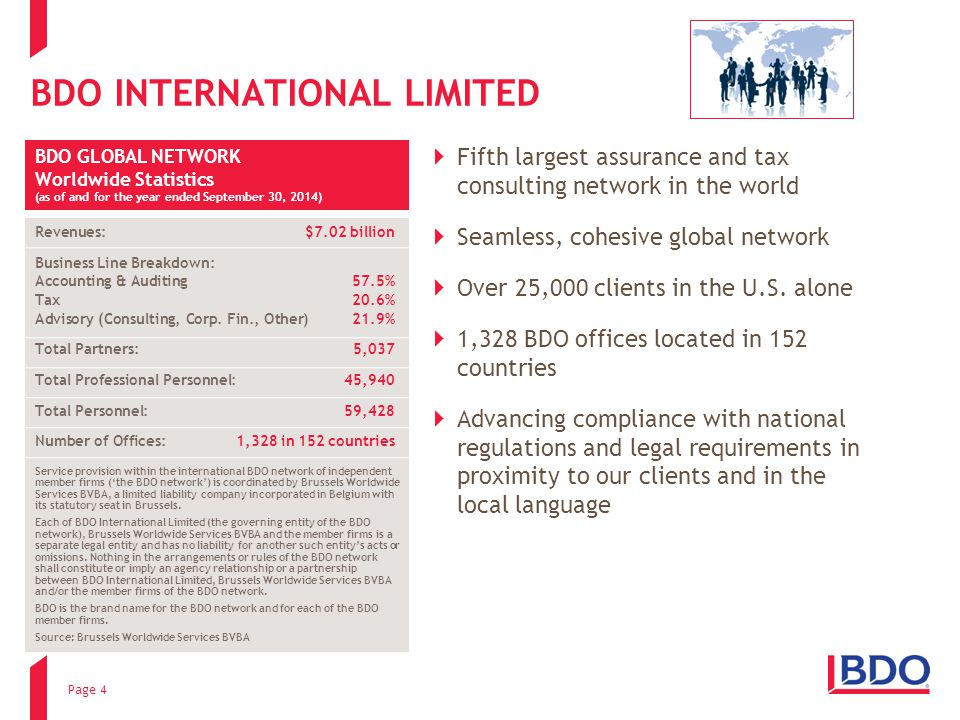 BDO INTERNATIONAL LIMITED  Fifth largest assurance and tax consulting network in the world  Seamless, cohesive global network  Over 25,000 clients