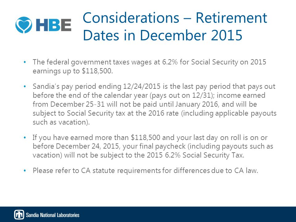 Considerations – Retirement Dates in December 2015 The federal government taxes wages at 6.2% for Social Security on 2015 earnings up to $118,500. San