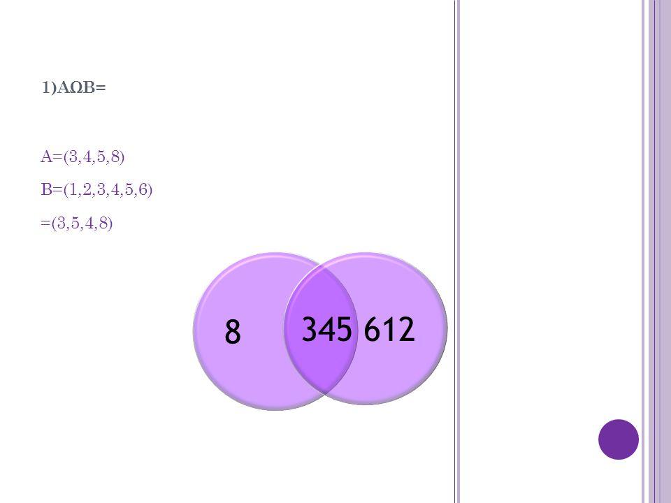 1)AΩB= A=(3,4,5,8) B=(1,2,3,4,5,6) =(3,5,4,8) 8 345 612
