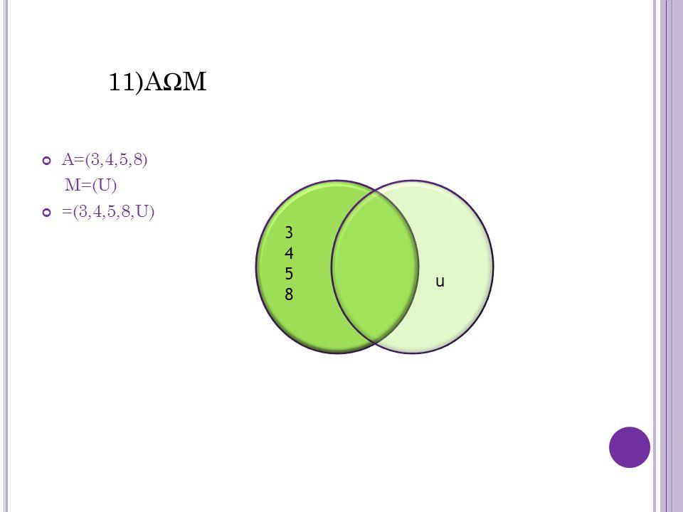 11)AΩM A=(3,4,5,8) M=(U) =(3,4,5,8,U) 34583458 u